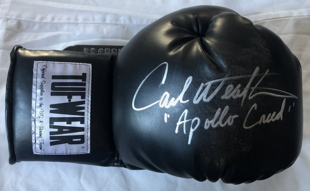 Carl Weathers Autographed TUFFWEAR Black Boxing Glove