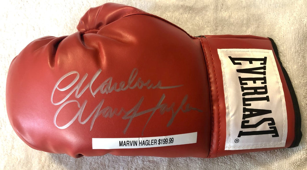 Marvin Hagler silver signed Autographed Red Everlast Boxing Glove