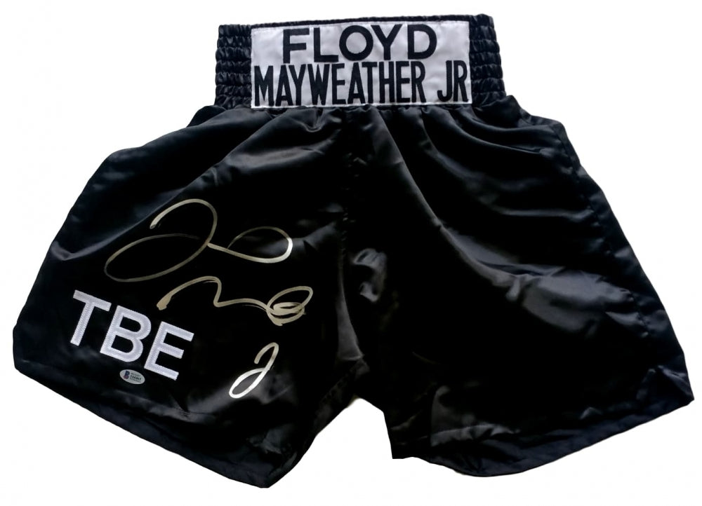 Floyd Mayweather Jr Signed TBE Custom Boxing Trunks (Beckett COA)