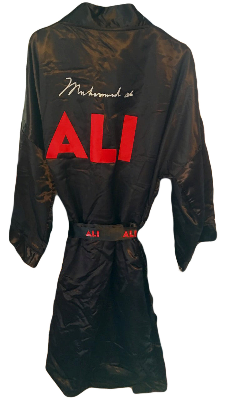 MuhammadAli Autographed Custom Made Black Movie Boxing Robe signed in Silver