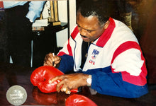 Muhammad Ali and Joe Frazier Autographed Vintage Everlast Red Boxing Gloves Superstar Greetings certified