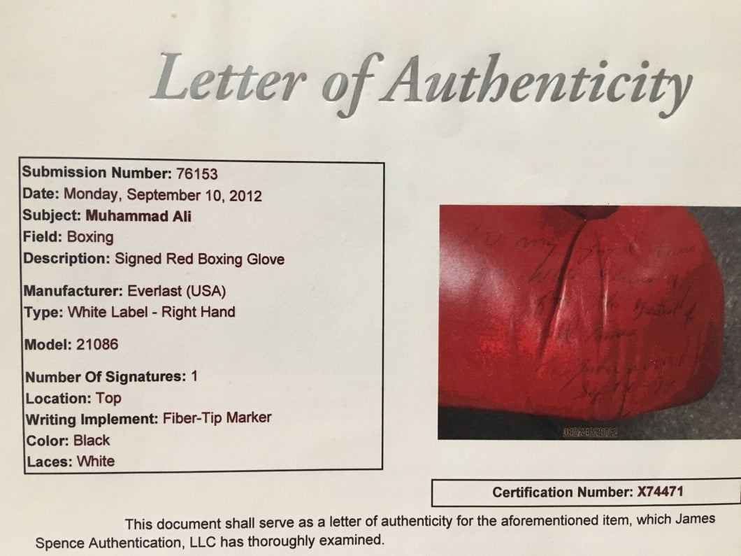 Muhammad Ali Autographed Vintage Boxing Glove With Added Inscription