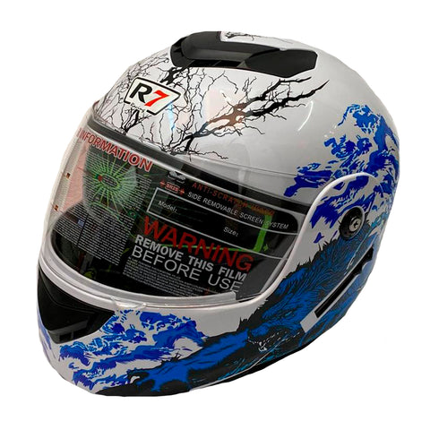 CASCO ABATIBLE R7 RACING MD-903 DOBLE MICA BCO/AZL/CYAN/NGO