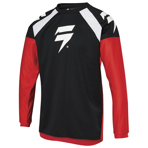 JERSEY SHIFT NIÑO WHIT3 LABEL RACE 1 ROJO/NEGRO