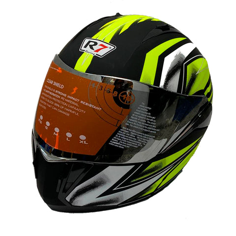 CASCO ABATIBLE R7 RACING R7-168 DOBLE MICA DOT NGO MATE /AMA FLUO MICA IRIDIUM