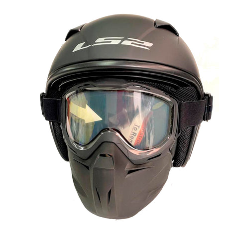 CASCO ABIERTO LS2 BLACK MASK SOLID NEGRO MATE OF539