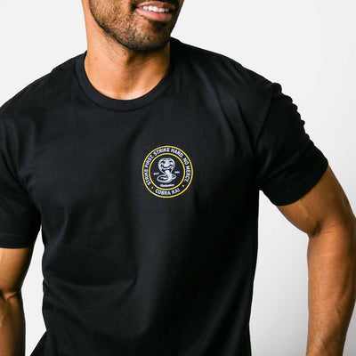 Model wearing black t shirt with cobra kai front left chest hit and large logo on back.