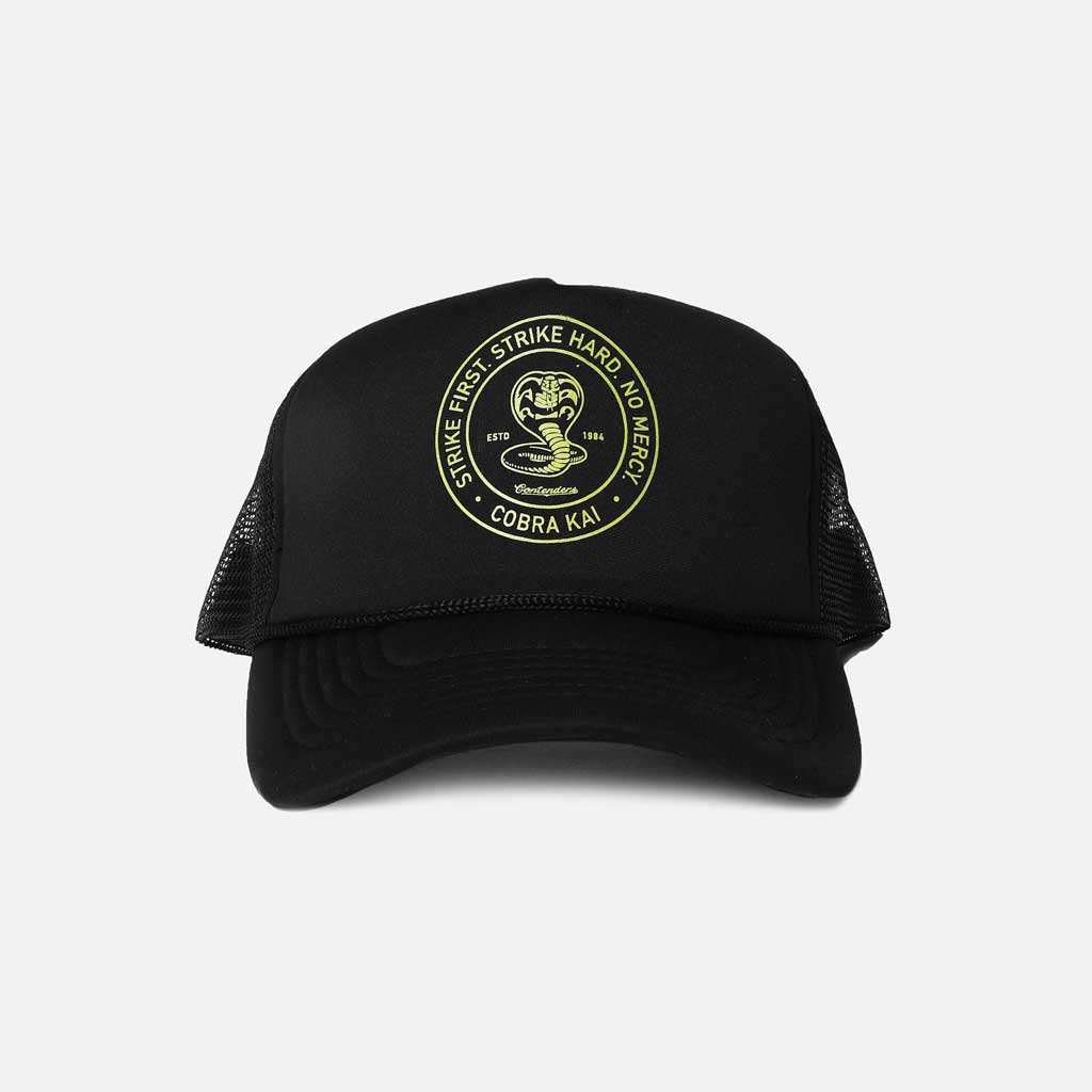Black mesh trucker snapback with cobra kai logo.