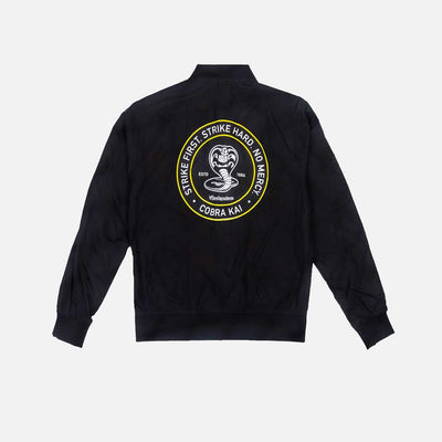 Black cobra kai jacket with large logo on back.