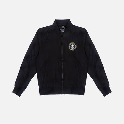 Black cobra kai zippered jacket with front left chest hit.