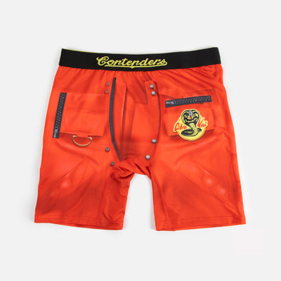 johnny jacket cobra kai red boxer briefs with black waistband and faux zippers and snaps and logo