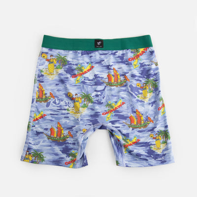 back of blue water pattern boxer briefs with palm trees cobra kai ships with okinawa island graphic