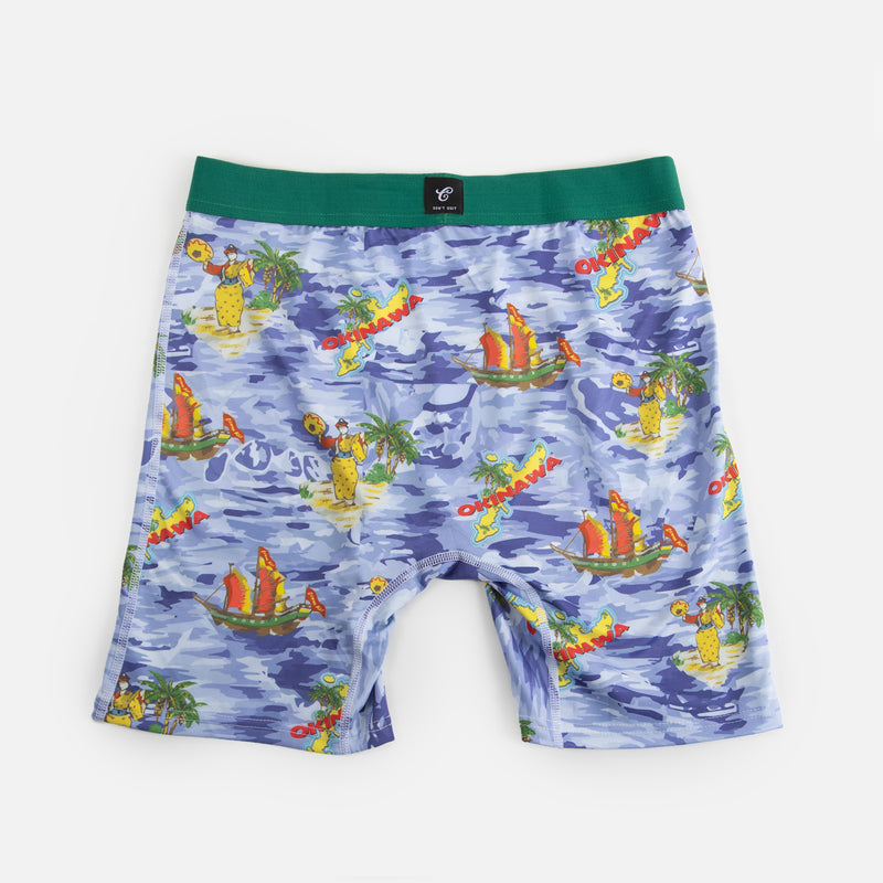 blue water pattern boxer briefs with palm trees cobra kai ships with okinawa island graphic