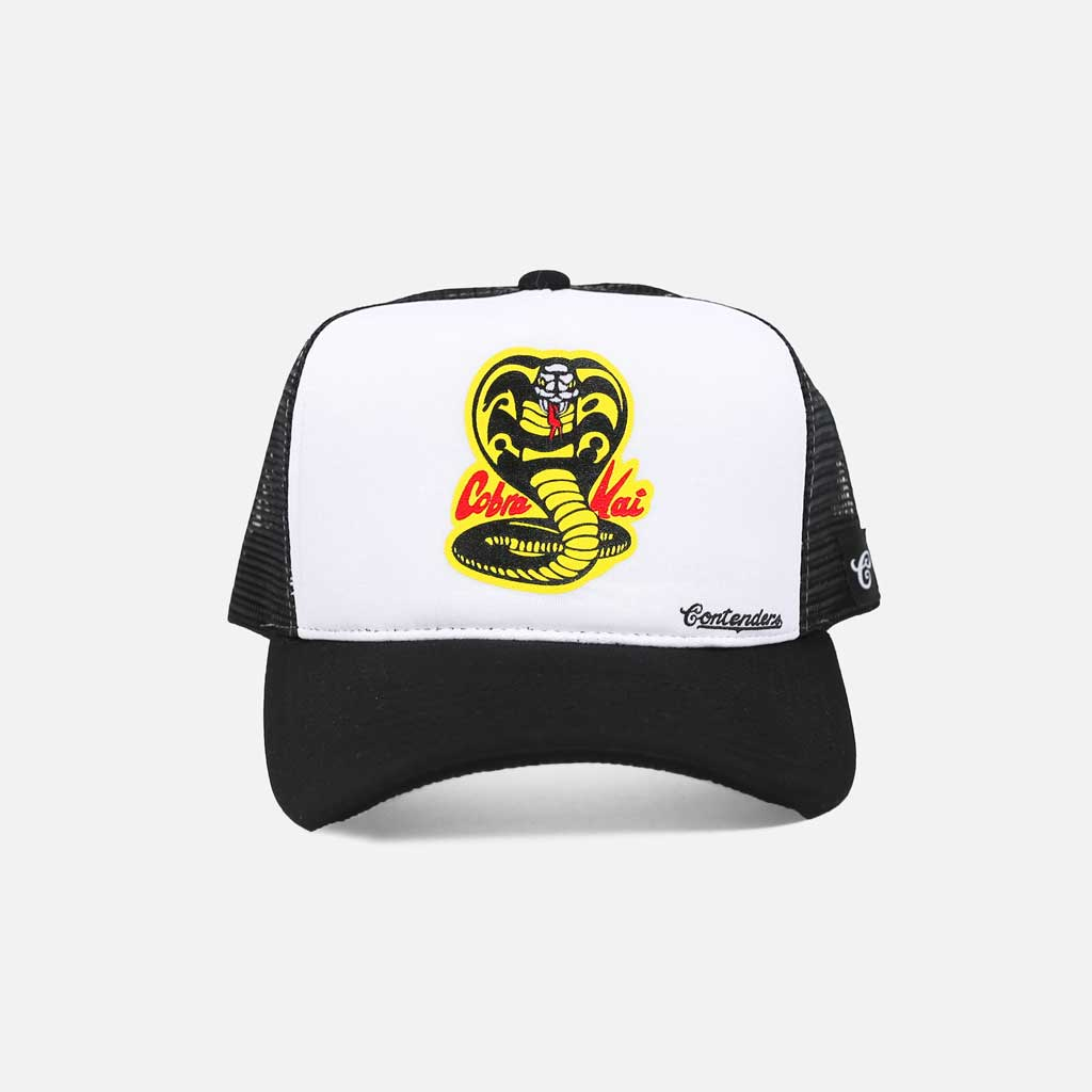 black and white trucker snapback with cobra kai logo center front