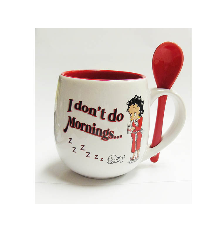 Betty Boop Mug w/Spoon I Don't Do Mornings....