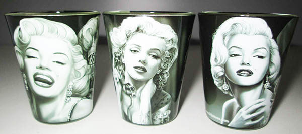 Set of 3 Marilyn With Tattoos David Gonzales Art Shot Glass