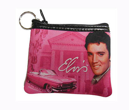 Elvis Key Chain Coin Purse Pink w/Guitars