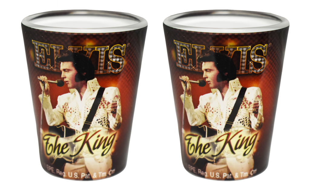 Elvis Shot Glass The King Red Background