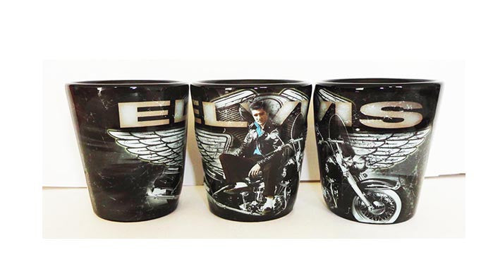 Elvis Shot Glass Motorcycle w/ Wings Embossed