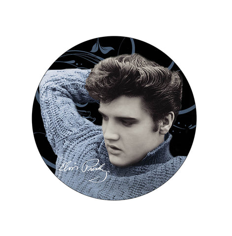 "Elvis Plate Blue Sweater Blk - 7.2"" Diam -"