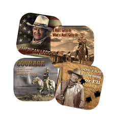John Wayne Coasters -Set of four:  American Legends- Courage- I'll Shoot...- Man's Got...