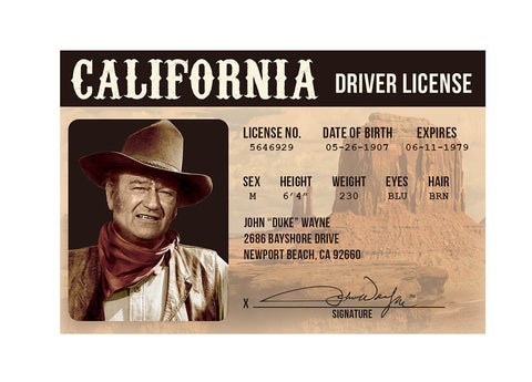 John Wayne Driver License