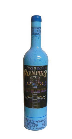 Memphis Wine Bottle Spirit Blues Decor