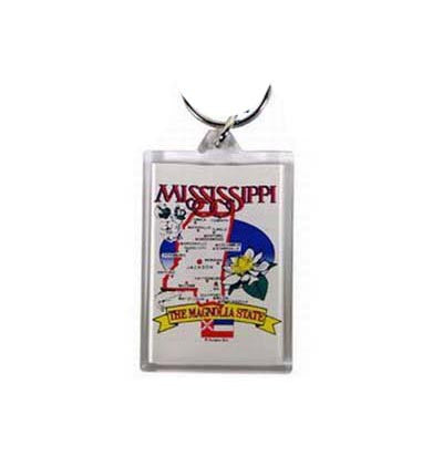 Mississippi Key Chain Lucite State Map