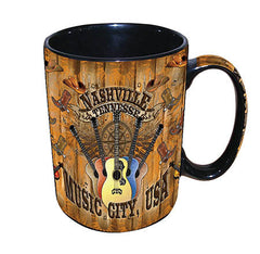 Nashville Mug Wood Panel 14 OZ