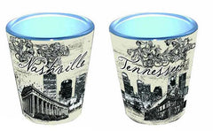 Nashville Shot Glass  Cream, Black & White Skyline