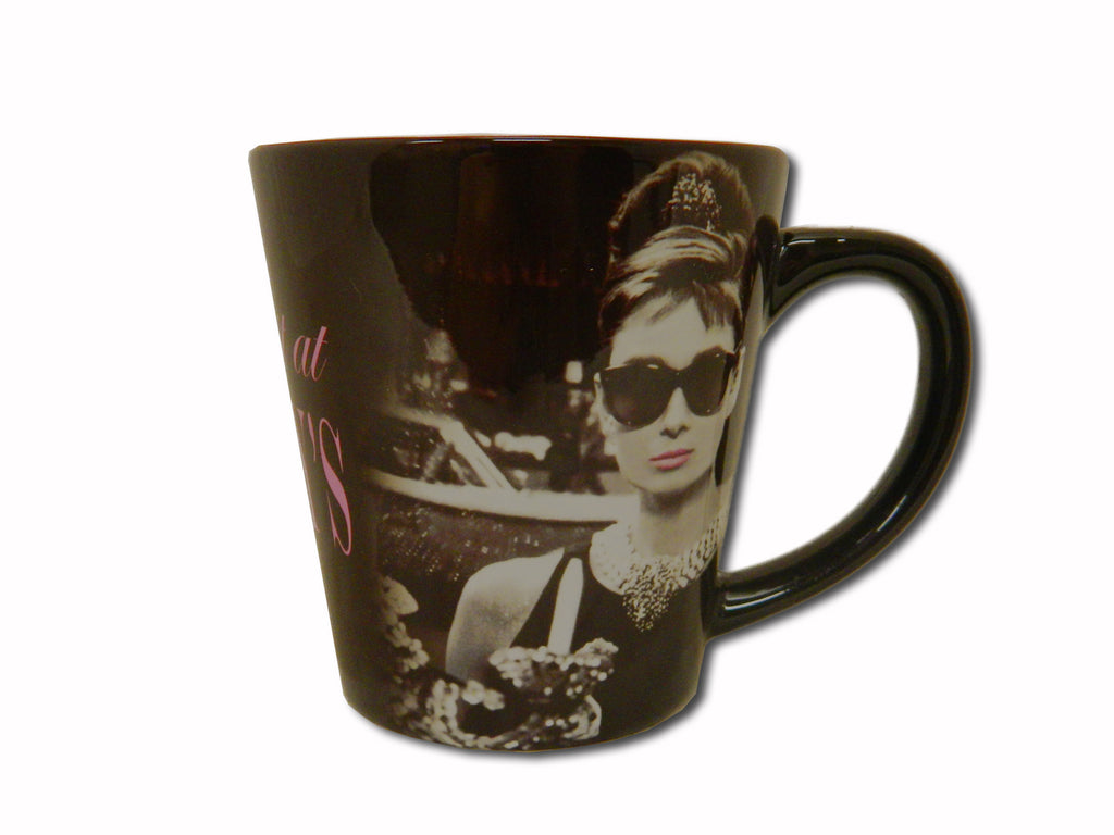 Audrey Mug Breakfast at Tiffany's looking in window