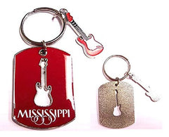 Mississippi Key Chain 2D Guitar Charm