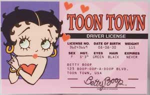 Betty Boop Drivers License