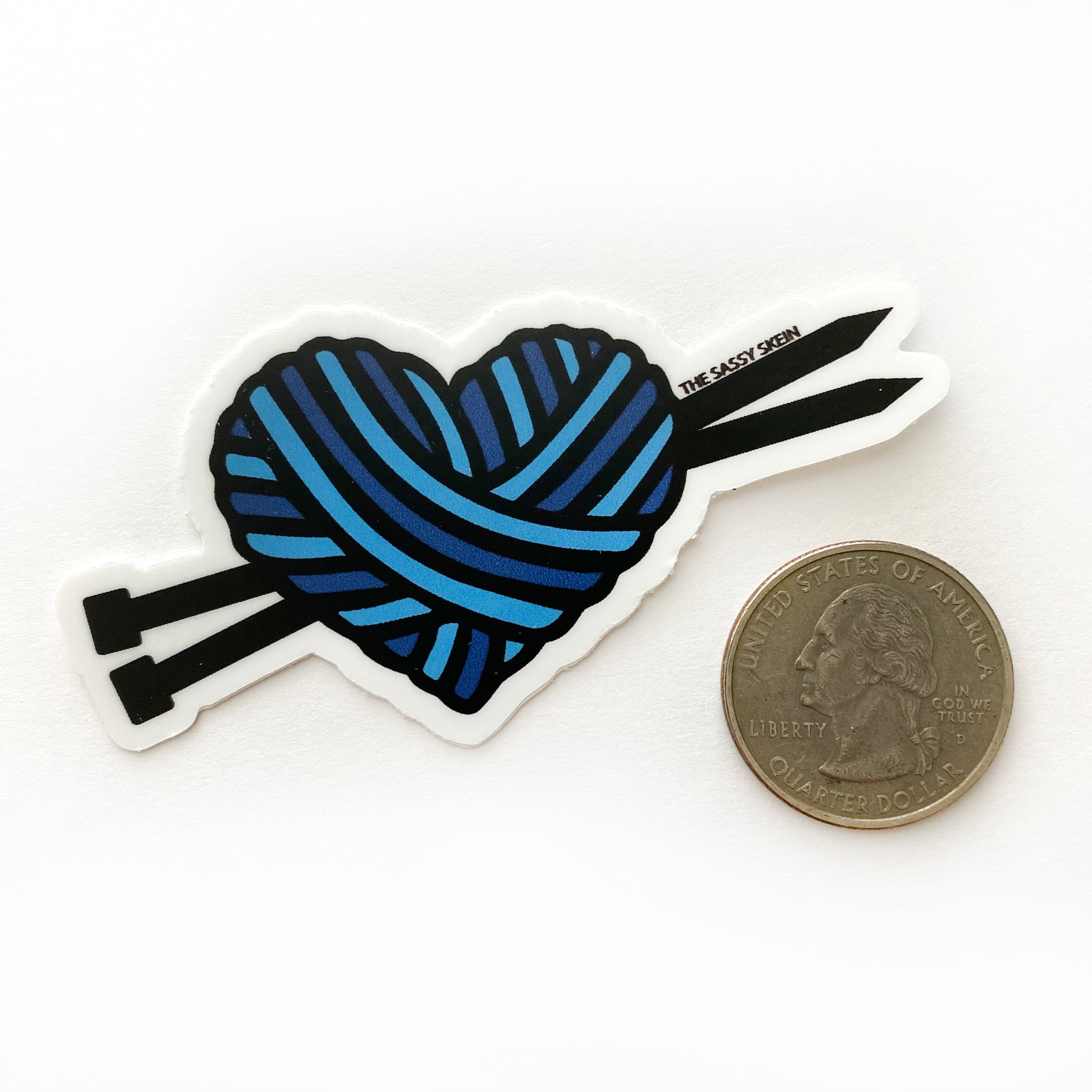 Blue Yarn Heart Sticker