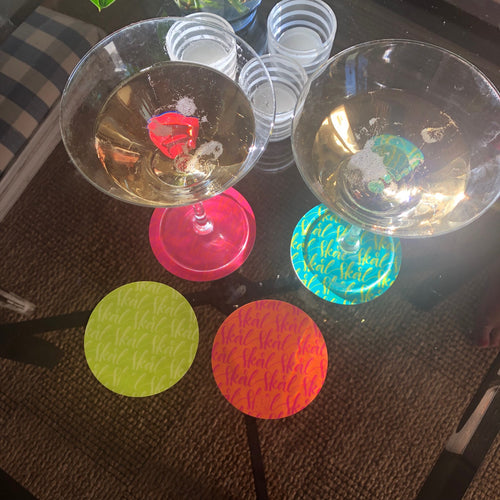 Coasters, assorted colors, 4-pack