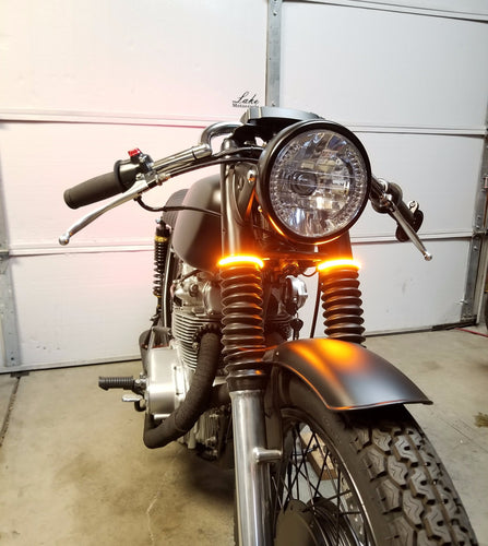 cafe racer fork mount led turn signals