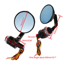 Round Bar End Mirrors w/turn signals