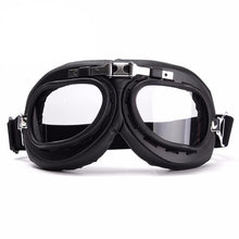 Vintage Riding Goggles Black and Chrome