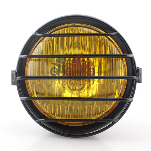 Retro Amber Lens Headlight w/Bar Grille