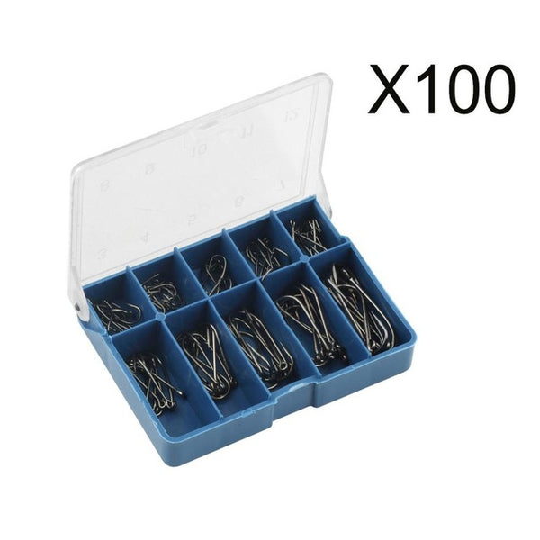 100 Piece Carbon Steel Fishing Hooks with Tackle Box