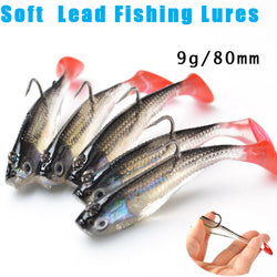 5Pcs/Lot 3D Eyes soft lead single hook with T Tail Soft Fishing Lure