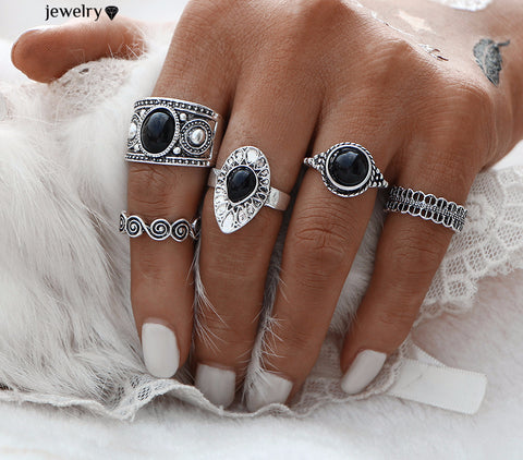 Vintage Turkish Ring Sets Antique Stone Midi finger Rings for Women
