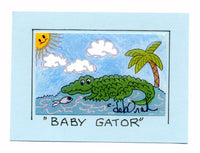 BABY GATOR - Alligator Art Print in a Magnet - art by debOrah
