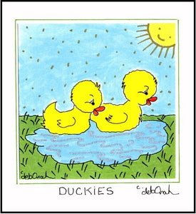 BABY DUCKS - Farm Animal Theme Nursery Decor - Framed SQUARE Art Print - art by debOrah