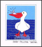 BABY PELICAN - SQUARE Art Print FRAMED - art by debOrah