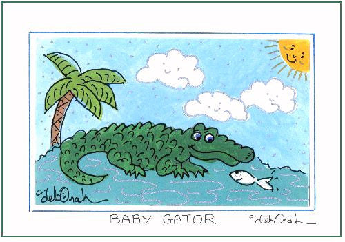 "BABY GATOR  -  5"" x 7"" Alligator Nursery Art Print, Hand-Decorated, Limited-Edition - art by debOrah"