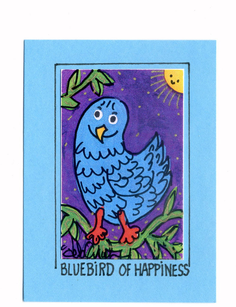 BLUEBIRD OF HAPPINESS - Art Print in a Magnet - art by debOrah