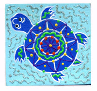 Baby Blue Turtle - Square Painting on Canvas - art by debOrah