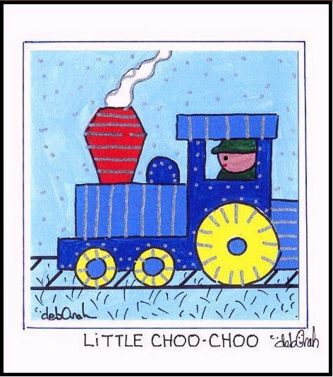 LITTLE CHOO CHOO - TRAIN - Framed SQUARE Art Print - art by debOrah
