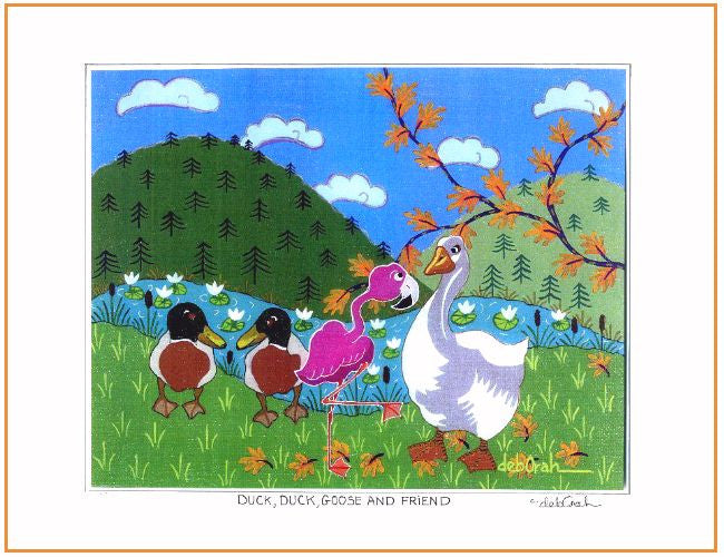 "Duck, Duck, Goose and Friend - Ducks, Goose and Flamingo 11"" x 14"" Art Print, Hand-Decorated, Limited-Edition - art by debOrah"